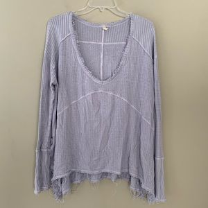 Free People Thermal Long Sleeve Distressed Shirt M